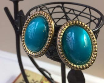 Vintage Dark Teal Blue Oval Dome Clip On Earrings with Bronze Accents
