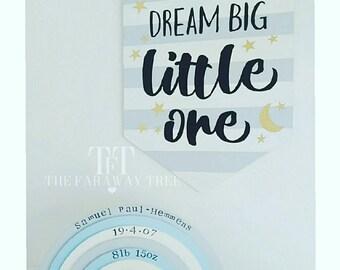 Dream big, little one, nursery, wooden pennant, baby boy, baby, dream, stripes, wall art