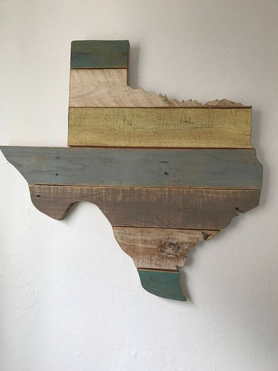 Map of Texas made with up-cycled oak pallets