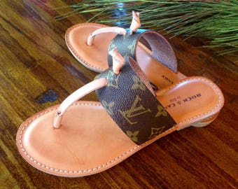 Handcrafted thong sandal fashioned with Repurposed Louis Vuitton monogram canvas