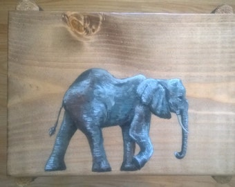 Hand made, hand painted, unique side table - Elephant