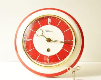 Midcentury Diehl Red Ivory Clockwork Wall Clock - Made in Germany