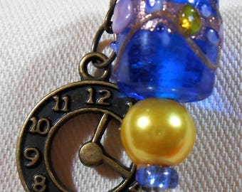 Stickpins with Antique Brass Clock Charms and Lampwork Glass Beads