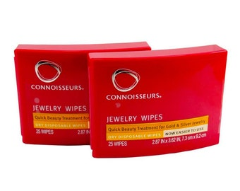 2x Connoisseurs Jewelry Wipes 50 Disposable Polishing Cloths - Polish & Clean - Gold, Silver, Ring, Necklace, Bracelet, Watch Earing Cleaner