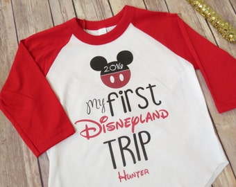 My first Disneyland Trip, Personalized Mickey Mouse, Minnie Mouse, Kids Clothing, Disney Raglan, Girls Clothing, Boys Clothing