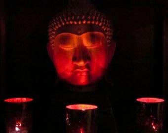 Red Buddha: Greeting Card printed on Kodak Endura Metallic photo paper, Strathemore embossed card with envelope