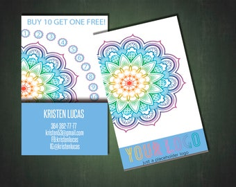 LLR Punch Card Home Office Approved Color & Fonts, Gorizontal, LLRPunch Card, Business Cards - For Fashion Consultant - Mandala Style
