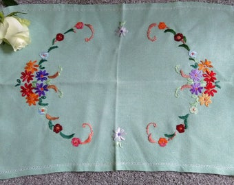 Vintage Hand Embroidered Traycloth - 1950's