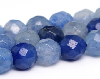"4MM Faceted Blue Aventurine Natural Gemstone Half Strand Round Loose Beads 7.5"" (100901h-343)"