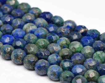 """4MM Faceted Azurite Natural Gemstone Full Strand Round Loose Beads 15"""" (101179-335)"""