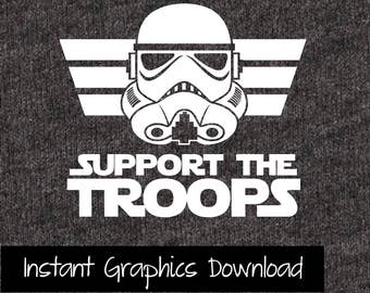 Star Wars Onsie Support the Troops Storm Trooper SVG Download Clip Art for Cricut Vinyl Cutters