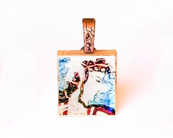 Pendant with Photo, Scrabble Jewelry, Tile Necklace, Travel Charm, Adventure Pendant, Studio Etc 2008, Fresco, Athens, Photo of Greece