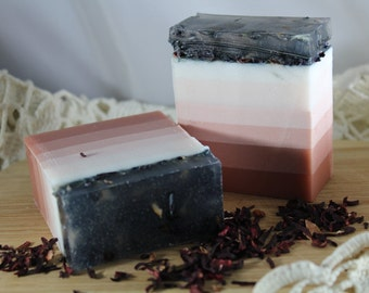 """Raspberry Rose Hisbicus Tea and Rose clay """"detergent free""""  Soap"""