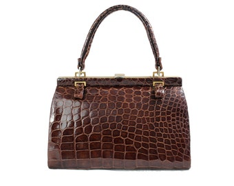 Vintage Brown Exotic Leather Handbag