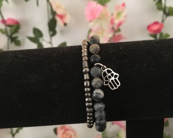 HANDMADE black and metallic beaded bracelet set