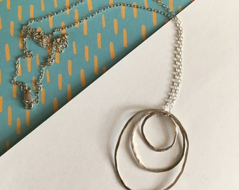 Hammered silver triple oval pendant on 26inch sterling silver chain