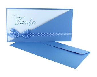 Greeting card baptism, bag + card + loop