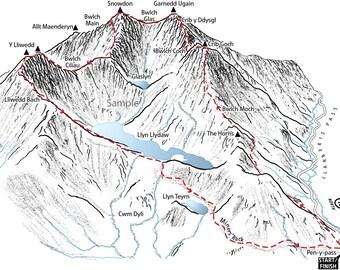 3D map detailing the Snowdon Horseshoe