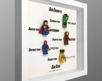 Daddy is a superhero personalised Lego minifigure picture frame.