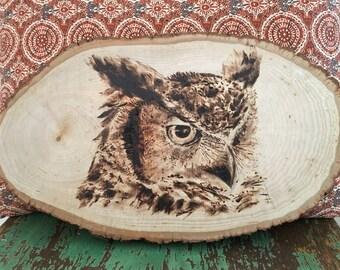 Wood Burned Great Horned Owl