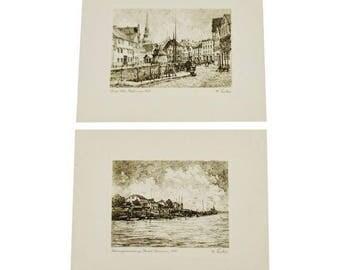Pair of German Village Scene Prints by W. Fischer