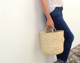 Round Palm Basket with handles // French style basket // Eco friendly // Sustainable Shopping bag // WEAVE BASKET //home decoration