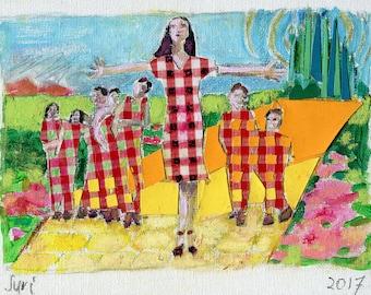 Acrylic Painting Motherhood, Painting Motherhood, Acrylic Painting Mother and Children, Acrylic Painting Family, Painting Roles of Mother