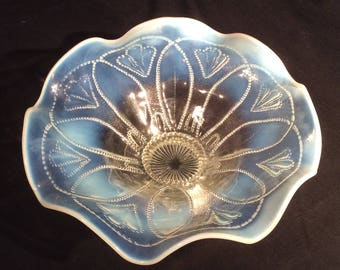 """Pressed Glass Opalescent Pedastal Bowl with """"Tulip"""" shaped flowers, Ruffled Edge"""