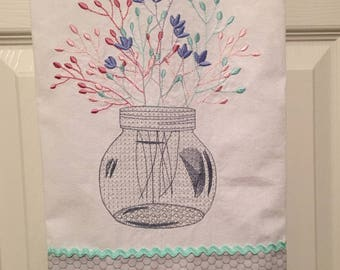 Flower jar embroidered kitchen towel