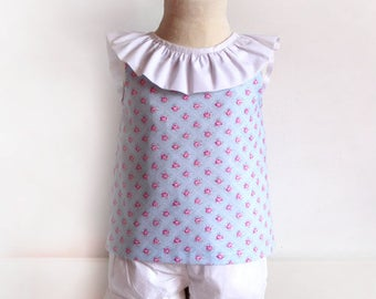 Open Back BLOUSE with bow for baby babies toddler girls PDF Sewing PATTERN + Youtube Tutorial **size 1 to 12 years** Spanish Design