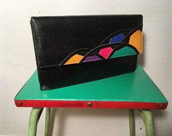 Vintage 1980s Leather Clutch Handbag with Rainbow Snake Skin