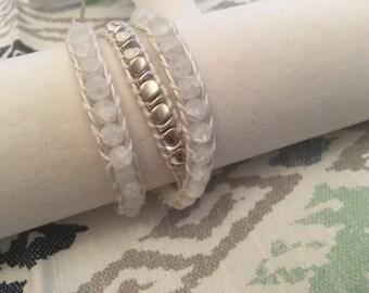 white & silver glass bead leather wrap bracelet