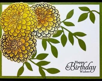 Handmade Birthday Card, Happy Birthday Card, Floral Birthday Card, Greeting Card, Card For Mom, Yellow Flower