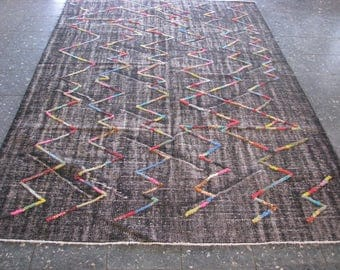 POMPOM RUGS , Vintage AREA Rugs , Turkish Relief Colored Rugs , Vintage Black Rug , 108x71 inches
