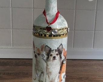 Bottle lamp bottle lamp Chihuahua Dekolampe