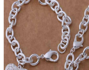 925 sterling silver jewelry set bracelet & necklace with fantastic heart pendant