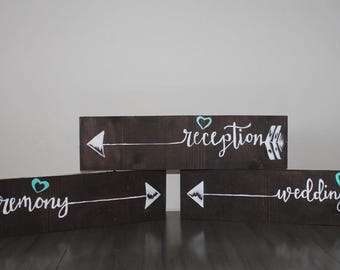 Wooden hand painted wedding signs