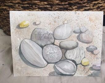 Beach Rocks Watercolor