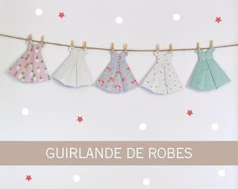 Origami dresses paper garland, paper garland, pineapple pattern, flamingos pattern