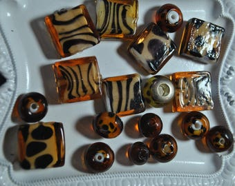 Animal print glass beads, giraffe, tiger, cheetah print, destash