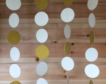 Ivory and Gold Circle Garland, Decor, Weddings, Party Decor, Celebrations,