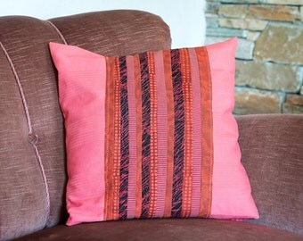 Upcycling pillow red with red patterned application