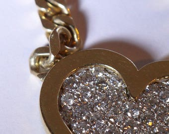 Vintage Pure Gold & Diamond Heart Necklace