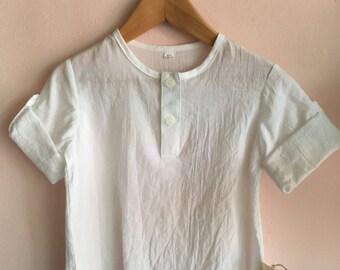 White Muslin Three Quarter Shirt