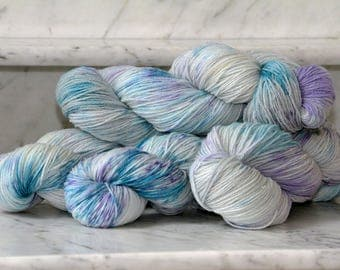 Speckled Borage Handpainted Superwash Merino Wool 3ply Sock Yarn