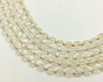 "White Moonstone Checker Beads 6-7 mm (ONE 8"" Strand)"