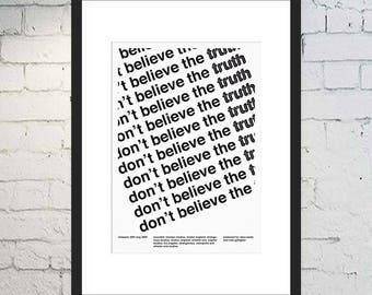 Don't Believe The Truth Print / Oasis Fan Art / Swiss Style / Music Print / Framed or Unframed / Geometric / Minimal Poster / Noel Gallagher