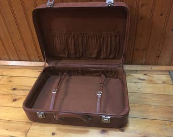 Vintage suitcase, Brown suitcase, Retro style  of 80 years,