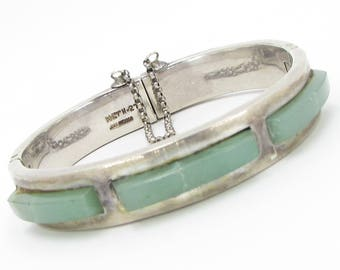 Unique 925 Sterling Silver Mexico 3-Stone Jade Bracelet - B058 (!!!OFFERS ACCEPTED!!!)