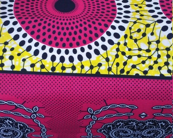 Pink, White and Yellow Wax Print (6yds)